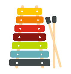 Colorful xylophone toy and sticks icon isolated vector