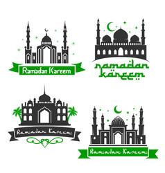 Icons for ramadan kareem holiday greetings vector