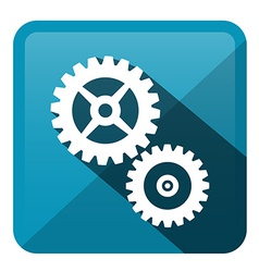 Cog - gear blue rounded square icon vector