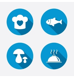 Chief hat cooking pan icons fish and mushrooms vector