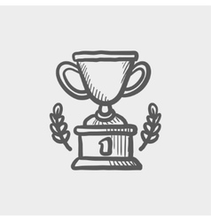 Trophy of first place winner sketch icon vector