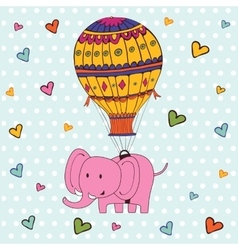 Cute hello card with hot air balloon and elephant vector