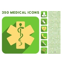 Life star icon and medical longshadow icon set vector