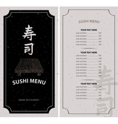 Menu with hieroglyph sushi vector