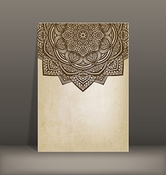 Old paper card with circular pattern vector