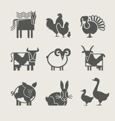 home animal set icon vector image