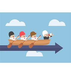 Senior businessman with his team rowing to success vector