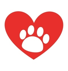 Animal footprint in heart isolated icon design vector