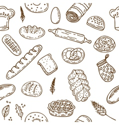 Bakery seamless pattern Hand drawn collection vector image