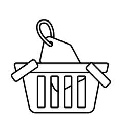basket buy online blank price tag outline vector image