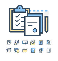 business documents icons vector image vector image