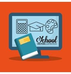 cartoon computer school blue book icons vector image