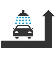 Carwash turn ahead flat vector