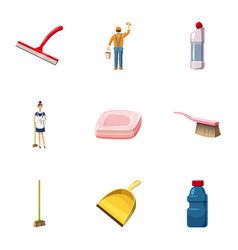 Cleaning staff icons set cartoon style vector