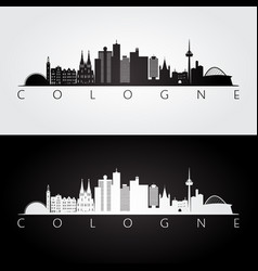 Cologne skyline and landmarks silhouette vector