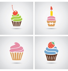 Cupcakes icons vector