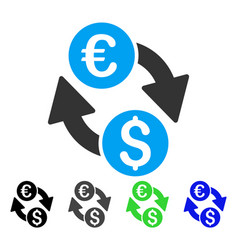 Euro dollar change flat icon vector