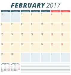 February 2017 calendar planner for 2017 year week vector