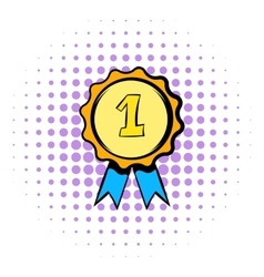 First place rosette icon comics style vector image