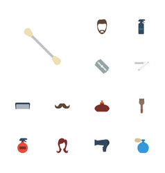 Flat icons deodorant blow-dryer cotton buds and vector