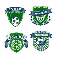 Football sport bar icons of soccer balls vector