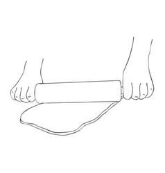 Hands rolling dough vector