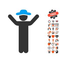 Hands up gentleman icon with valentine bonus vector