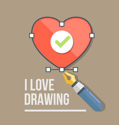 heart and pen icon in flat style vector image
