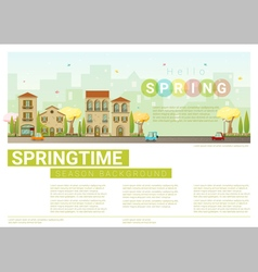 Hello spring cityscape background 8 vector image vector image