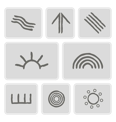 Icons with symbols of australian aboriginal art vector