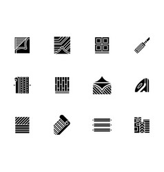 Linoleum covering black glyph style icons vector