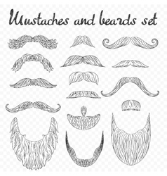 Man hair mustache beards collection isolated on vector image