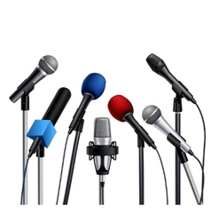 Microphones press conference set vector