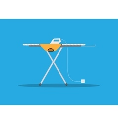 modern iron and orange tshirt on ironing board vector image