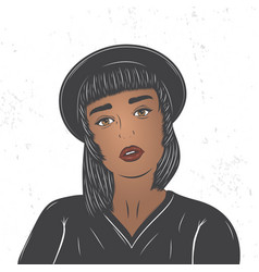mulatto girl in a black hat fashion show flat vector image