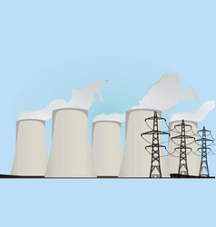 Nuclear power plants and electric towers vector
