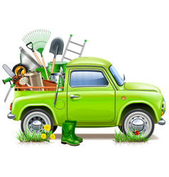 Pickup truck with garden accessories vector