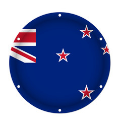 Round metallic flag with screw holes - new zealand vector
