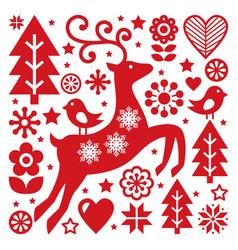 scandinavian christmas pattern nordic folk vector image vector image