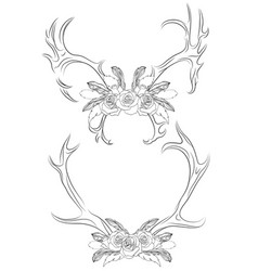 Set of contour deer antlers with roses and feather vector