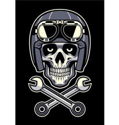 Skull wearing vintage motorcycle helmet vector