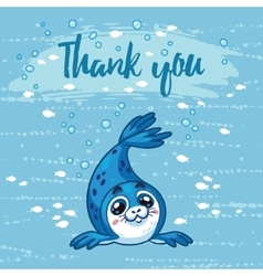Thank you cute card with cartoon baby seal vector