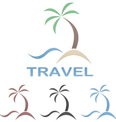Travel logo template - beach palm tree sea vector