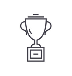 trophy cup line icon sign on vector image