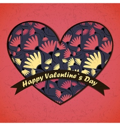 valentine day card with flowers and heart vector image