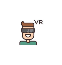 Virtual reality helmet icon vector