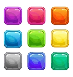 Colorful square glossy buttons set vector