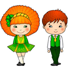 Irish dancing kids in traditional costumes vector
