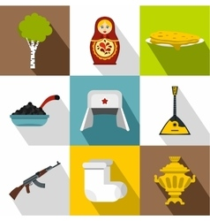Tourism in russia icons set flat style vector