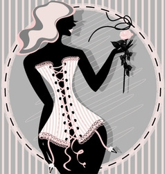 pink lady in a corset vector image